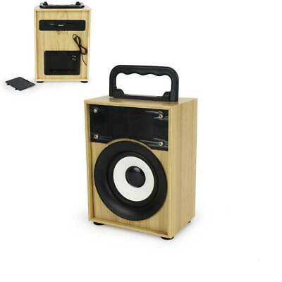 Cassa Portatile Legno Radio Fm Sd Usb Bluetooth Mp3 Smartphone Speaker Tablet Pc