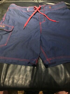 4503fb70b5 Hurley Mens Size 34 Navy Blue Red Board Shorts Swim Trunks Surf Beach Pool.