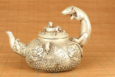 lovely chinese copper plate-silver hand carved mouse statue tea pot home deco