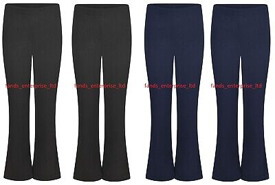 Ladies Women Bootleg Pull On Trouser Stretchy Bootcut Ribbed Work Bottom UK Made