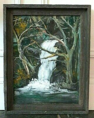 Lovely Waterfall Landscape Scene Painting By B Higgins
