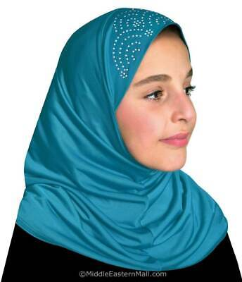 Turquoise Color for kids Hijab Islamic headcover From 2 to 7 years old From USA