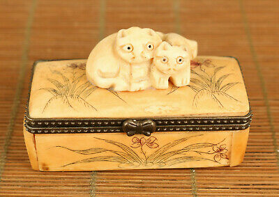 Lovely old hand carving cat statue figue netsuke table decoration jewel case