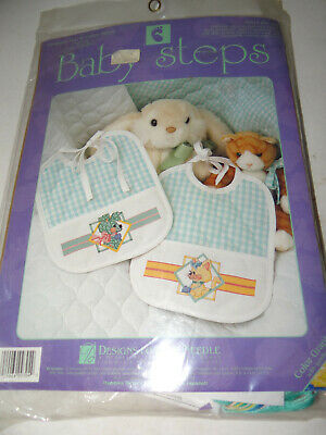 Designs For The Needle Baby Steps Gingham Pup Calico Kitten Bib Set Cross Stitch