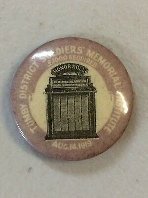 1919 Tumby District Soldiers Memorial Institute Button Badge 1000 Pounds Needed