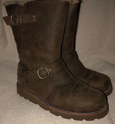 5867eca040e UGG AUSTRALIA ESPLANADE Brown Leather Buckle Detail Riding Boots ...