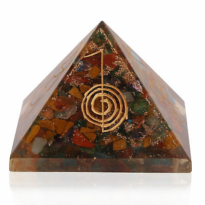 Extra Large 70-75MM Multi-Stone Symbol Pyramid Orgorne Natural Gemstone Organit