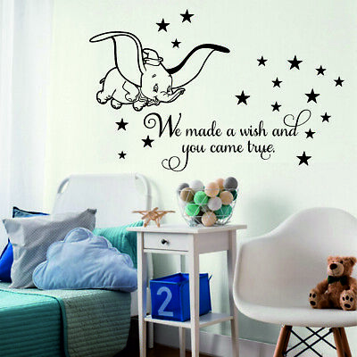 Dumbo Wall Stickers We made a wish Stars Kids Baby Bedroom Decor Disney Font