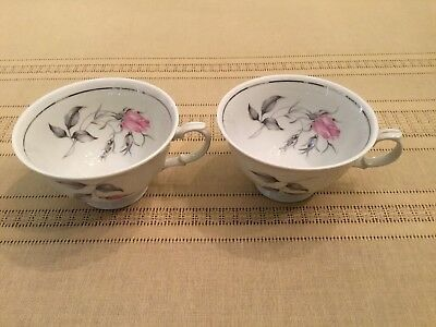 2 Royal Bohemian Fine China Pink Rose Buds Coffee Cups Made In Czechoslovakia