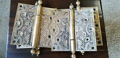Lot of Four Antique Egyptian Motif Victorian Eastlake Heavy Brass Door Hinges