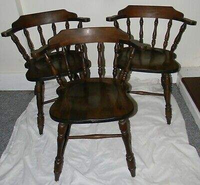 3 Vtg Antique Hale Company Vermont Rock Maple Commanders Arm Chairs #7012 Tagged