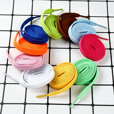 Flat Coloured Shoe Boot Trainer Shoe Laces Skate Football Sneakers Shoelaces