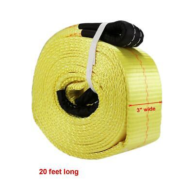 20ft 13.6T Tow Cable Towing Pull Rope Snatch Strap Heavy Duty Car Road Recovery