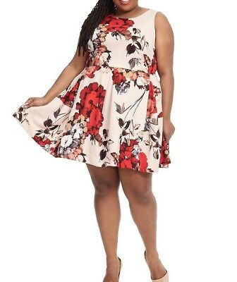 e11f25a909cc Taylor Dresses Stretch Jersey Fit And Flare Plus Size Dress In Red Rose 16W
