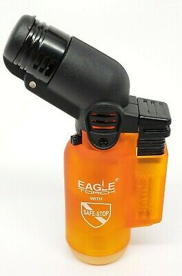 Refillable Single Angle Torch with Safe Stop - High Quality - Orange - LOT OF 2!