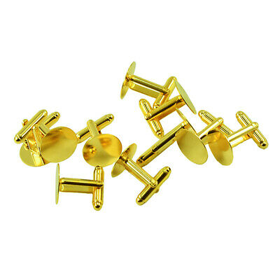10pcs Flat Round Cufflinks Cuff Link Back Blanks Findings Jewelry 15mm Gold