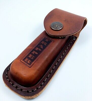 Real Leather Sheath Multi Tool Folding Knife Brown Trapper BRAND NEW FREE POST