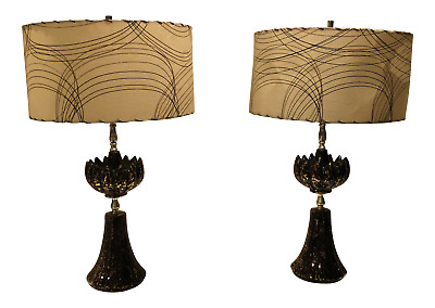1950s PAIR Vintage Atomic Mid Century Lamps With orig. Fiberglass Shades