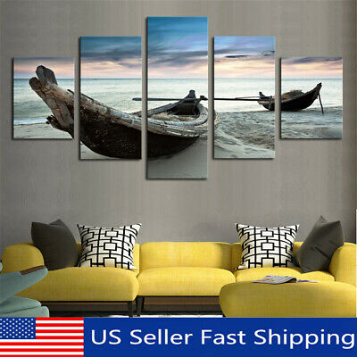 5Pcs Modern Ocean Boat Canvas Print Painting Wall Picture Home Decor