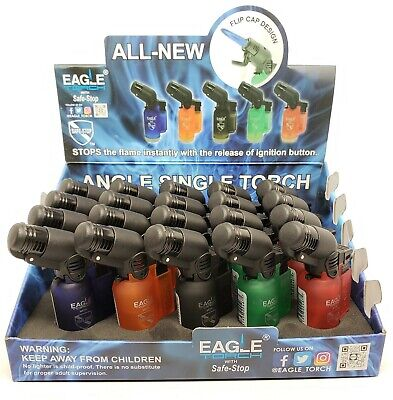 Torch Lighter -Eagle 45 Degree Angle Jet Flame Torch Lighter Refillable  10 Pack