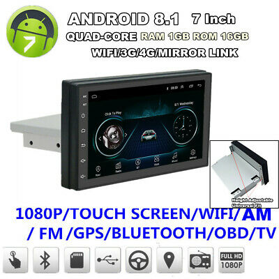 """7"""" Single Din Android 8.1 WiFi 3G 4G Stereo Radio FM Player Car GPS Navigation"""
