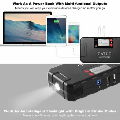 CATUO 13600mAh Auto Car Jump Starter Battery Booster with USB Power Bank FY@