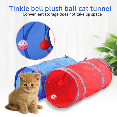 1xPet Cat Kitten Dog Puppy Rabbit Folding Tunnel Game Play Toys W/Bell Ball Gift