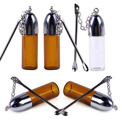 Cute Snuff Container Vial Bottle 5x Glass with Metal Spoon Snorting Snort Bullet