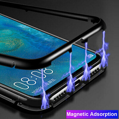 Magnetic Adsorption Metal Tempered Glass Case Cover for One Plus 7 Pro 6 6T+Film
