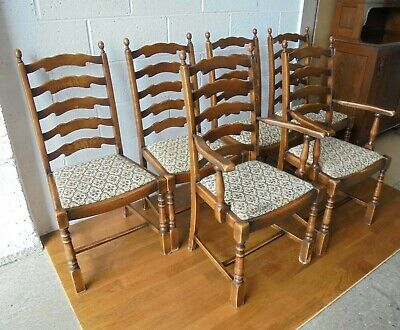 Set Of 6 Country Rustic Vintage Ladder Back Dining Chairs Inc 2 Carver Armchairs