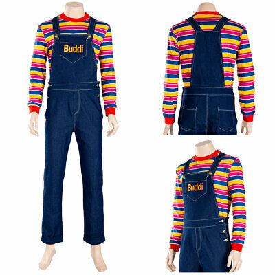 Child's Play Chucky Cosplay Costume Kids Buddi Outfit Overall Halloween Carnival