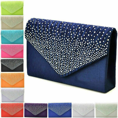 Womens Satin Diamante Clutch Bag Evening Bridal Bag Wedding Prom Handbag Purse