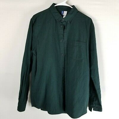 7c2c57c4 H&M Divided long sleeve casual button down shirt mens LARGE green work NWT