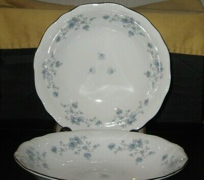"Johann Haviland / Blue Garland / Bavaria - 7 5/8"" Coupe Soup Bowls - Set of 2"