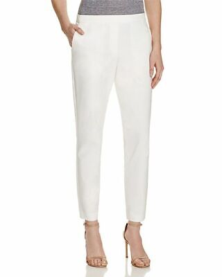 $300 Theory Women'S White Cropped Slim-Fit Elastic Waistband Dress Pants Size 2