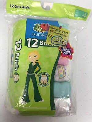 Girls Fruit of the Loom Size 4 12 Pack Panties Underwear Briefs 100% Cotton
