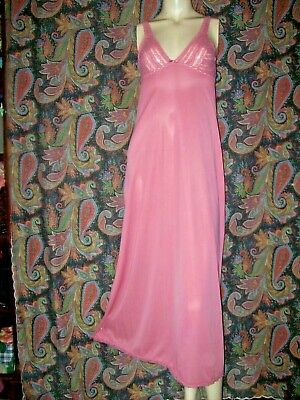 Vintage Vassarette Knit Top Pink Nylon Formal Lacy Slip Nighty Nightgown 34