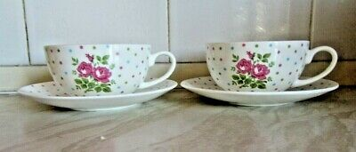 Laura Ashley 2 x Tea Cups & Saucers Off White Pink Roses & Spots Fine Bone China