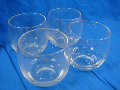 Set of 4 Old Fashioned Clear Stemless Wine and Whiskey Drinking Bar Glasses