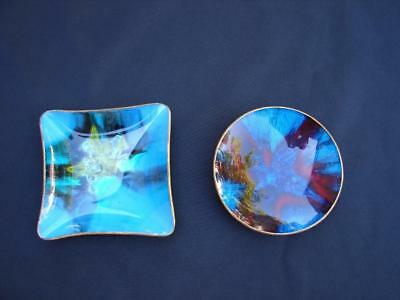 2 Vintage Retro Seetusee Mayfair Art Glass Dishes ~ Canada ~  Nice Colors