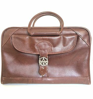 """Vtg 70's American Tourister Brown Tote Duffle Bag Carry On Luggage 21"""" X 13"""""""