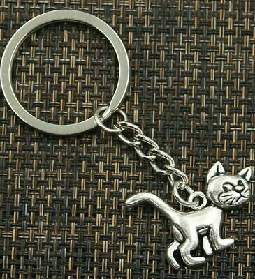 Cute Kitty Key Ring Small Antique Silver Plated Keychain With Cat