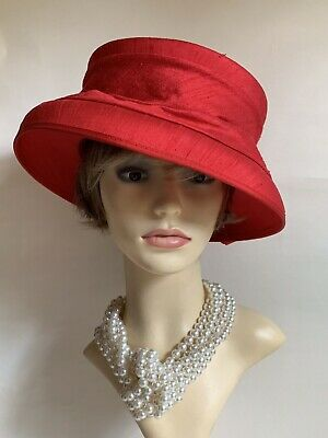 HEADWAYS 100% Red Silk Formal Hat Fully Lined With Large Bow Detail To Back