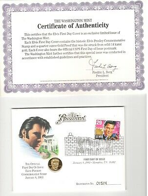 First Day of Issue Elvis Presley 1/4 oz 14k Gold Proof Coin & Stamp Set