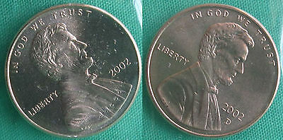 2002P y D Lincoln Cent 2-Coin Frm US Mint Set UNC Cello One Cent Penny 1c Set