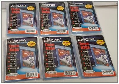 Ultra Pro Team Bags Resealable Sleeves (6Packs) Lot