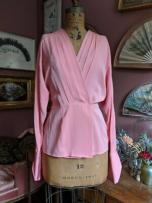 ea5683727 Vintage 80s Anne Klein Pink Silk Blouse Wrap Shirt Gold Black Rhinestone  Button