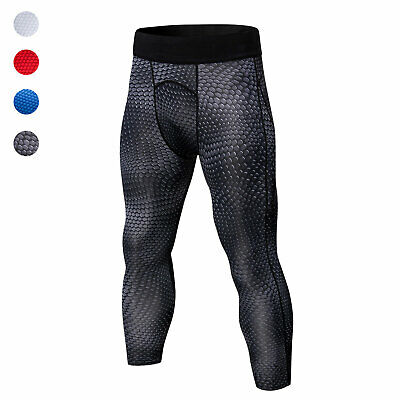 Men's Compression 3/4 Legging Dri fit Running Training Jogging Cropped Bottoms