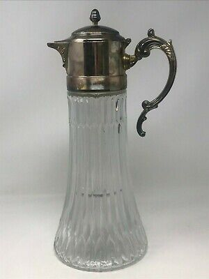 Vintage Glass Crystal Carafe Pitcher/ Decanter Silver Plate Top