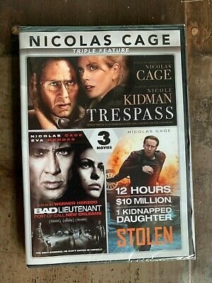 Nicolas Cage Triple Feature DVD New Free Ship Stolen Bad Lieutenant Trespass